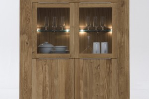 Giant highboard 2 glass 2 wooden doors